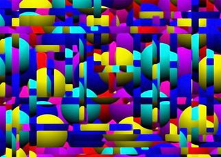Ken Slabach; Too, 2007, Original Digital Art, 16 x 12 inches. Artwork description: 241  Solid colored spheres are shaded for an illusion of depth and overlayed with strips of similar colors and textures to form a pattern of negative and positive space. Signed and numbered by the artist. Includes Certificate of Authenticity.  ...