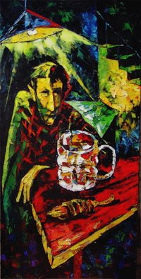 Keren Gorzhaltsan; A Beer Drinker, 2008, Original Painting Oil, 18 x 36 inches.