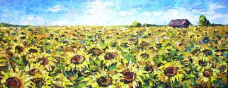 Keren Gorzhaltsan; Sunflowers, 2006, Original Painting Oil, 118 x 46 cm. Artwork description: 241  oil on canvas ...