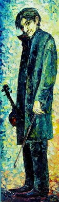 Keren Gorzhaltsan; The Violinist, 2009, Original Painting Oil, 45 x 153 cm. Artwork description: 241  oil on canvas ...