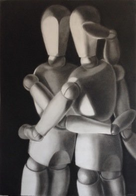 Anyck Alvarez Kerloch; Accolade, 2017, Original Drawing Charcoal, 70 x 100 cm. Artwork description: 241 Charcoal on Ingres paper. Love the soft velvety blacks of the charcoal. ...