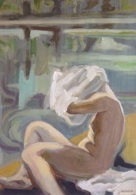 Anyck Alvarez Kerloch; At The Pool, 2016, Original Painting Acrylic, 34 x 50 mm. Artwork description: 241 Acrylic on heavyweight archival quality paper.  Woman undressing at the pool.  The painting is varnished.  Nude, figure, body, erotic, people, skin, undressing, figurative. ...