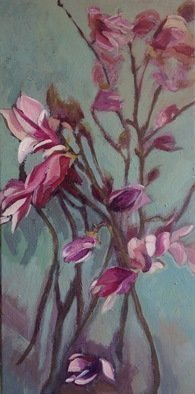 Anyck Alvarez Kerloch; Magnolia, 2017, Original Painting Acrylic, 30 x 60 cm. Artwork description: 241 In spring I like to paint the magnolias.  Acrylic on mounted canvas.  Floral, botanical, nature, still life, flowers. ...