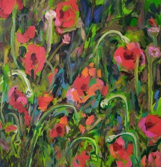 Anyck Alvarez Kerloch; Poppies, 2019, Original Painting Acrylic, 51 x 55 cm. Artwork description: 241 Acrylic on unmounted canvas. Belongs to a series I am doing on flowers based on direct observation , imagination or memory. ...