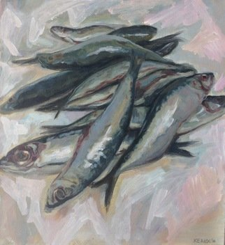 Anyck Alvarez Kerloch; Sardines Ii, 2019, Original Painting Acrylic, 38 x 41 cm. Artwork description: 241 Acrylic on archival quality paper. I like to paint the food I eat, specially sardines, they have those metallic blues and greys. ...