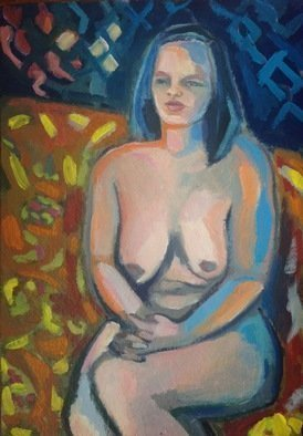 Anyck Alvarez Kerloch; Seated Woman, 2019, Original Painting Acrylic, 35 x 50 cm. Artwork description: 241 Acrylic on thick handmade paper. I painted this young woman . Her sad gaze made her look much older. ...