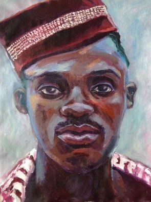 Anyck Alvarez Kerloch; Young Man With Red Cap, 2019, Original Painting Acrylic, 33 x 42 cm. Artwork description: 241 Acrylic on unmounted canvas. I enjoy painting people specially portraits, trying to extract the psychology and experiences of the portrayed. ...