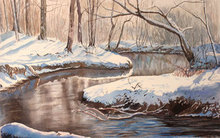 Artist: Debbie Homewood's, title: Snow on Riverbank, 2008, Watercolor
