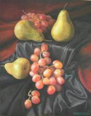 Kevin Wakefield; Pears Over  Silk, 2013, Original Painting Oil, 16 x 20 inches. Artwork description: 241   still life with pears and grapes     ...