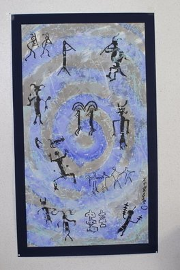 Kichung Lizee; Petroglyph Series, 2010, Original Paper, 36 x 62 inches. Artwork description: 241  American South Western Petroglyph with Tibetan prayers ...