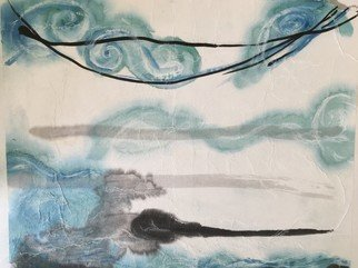 Kichung Lizee; Unsui Series 2, 2018, Original Mixed Media, 18 x 20 inches. Artwork description: 241 Unsui in Japanese means cloud and water and also means wandering Buddhists monastics. ...