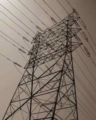 Greg Spohn; Erection Tension, 2007, Original Photography Black and White, 10 x 8 inches. Artwork description: 241  power lines silhouette tower electrical   ...