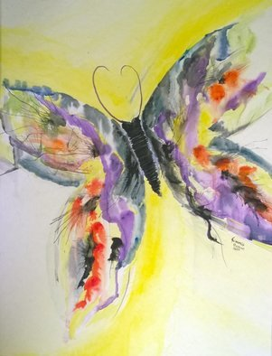 Kimmie Hamm; Beautiful Flight, 2014, Original Watercolor, 16 x 20 inches. Artwork description: 241  Butterfly in flight. bright colors purple blue yellow ...