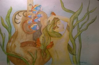 Kimmie Hamm; Go Where Music Takes You, 2016, Original Watercolor, 18 x 24 inches. Artwork description: 241  Classic Gutiar, Mermaid' s, fish, underwater....