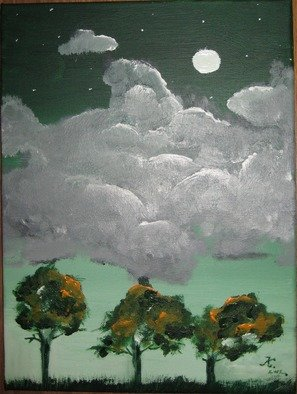 Kinga Szasz; Moon, 2012, Original Painting Acrylic, 30 x 40 cm. Artwork description: 241  i made this painting when my mood was sad , this is why the clouds are so heavy  ...