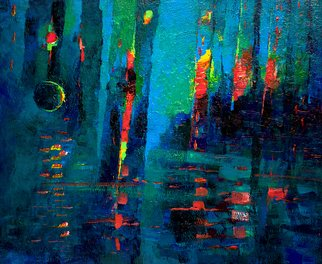 Hennadii Fisun; Dubai Reflections, 2015, Original Painting Acrylic, 60 x 50 cm. Artwork description: 241  Abstract reflections of towers in Dubai Marina water...