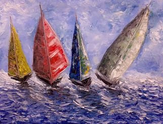 Kiran Bableshwar; Boats, 2015, Original Painting Oil, 11 x 11 inches. Artwork description: 241    The beauty of riding rough waves ...