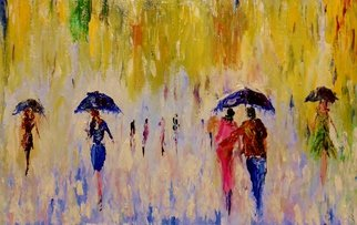 Kiran Bableshwar; Premonsoon Shower, 2015, Original Painting Oil, 11 x 7 inches. Artwork description: 241  The beauty of getting wet in the first showers! ...