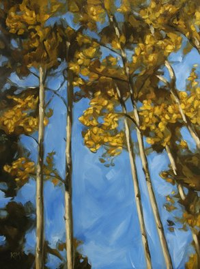 Kirstin F. Mitchell; Rising, 2010, Original Painting Oil, 20 x 24 inches. Artwork description: 241   New Mexico, Aspen Vista, southwestern, Santa Fe, trees, autumn, leaves        ...