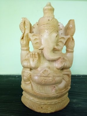 Unni Krishnan; Ganesha, 2017, Original Crafts, 11 x 18 cm. Artwork description: 241 Crafted in yellow teak wood Lord Ganesha ...