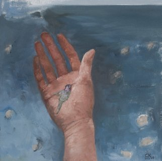 Claudia Kleefeld; Hummingbird in My Hand, 2008, Original Painting Oil, 12 x 12 inches.