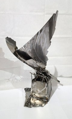 Kloska Ovidiu; Frame From An Ethernal Flight, 2019, Original Sculpture Steel, 40 x 50 cm. Artwork description: 241 ovidiu kloska, oneiric art, bird, flight, flying, wings, metaphysic, brutalism, deconstructivism, romantic, welding sculpture, metal, iron...