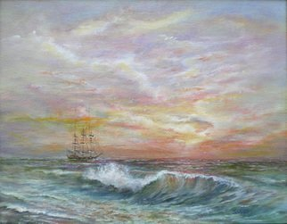 Katalin Luczay; Frigate, 2008, Original Painting Oil, 14 x 11 inches. Artwork description: 241  An old frigate anchoring off shore in the distance.  ...