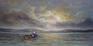 Katalin Luczay; Home coming, 2005, Original Painting Oil, 24 x 16 inches. Artwork description: 241  Two people father and sun fishing in Hungary. The picture was inspired while walking by the lake and watching the late afternoon sun. ...