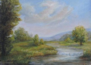 Katalin Luczay; Hunterdon County New Jers..., 2016, Original Pastel Oil, 11 x 14 inches. Artwork description: 241  Luczay, landscape of waterfall painting, Hunterdon County New Jersey scene painting, nature waterfall painting, romantic waterfall painting ...
