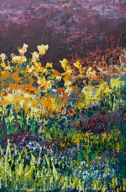 Karin Neuvirth; Twilight Garden, 2014, Original Painting Acrylic, 24 x 36 inches. Artwork description: 241   Abstract floral acrylic painting done with a palette knife.  Dark Sky, Golden flowers, Vibrant colors, on Canvas. ...