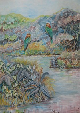 Meenakshi Subramaniam; Chestnut Headed Bee Eaters, 2010, Original Painting Acrylic, 36 x 48 inches. Artwork description: 241  Bird Art India, Wildlife, Nature ...