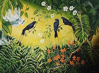 Meenakshi Subramaniam; Conversation 2, Racket Ta..., 2015, Original Painting Acrylic, 48 x 36 inches. Artwork description: 241        Bird Art India, Wildlife, Nature , Western Ghats, Kerala, endemic  Butterflies of tropical forests in India   ...