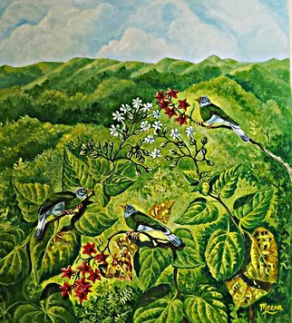 Meenakshi Subramaniam; Grey Headed Bulbuls, 2015, Original Painting Acrylic, 35 x 32 inches. Artwork description: 241           Bird Art India, Wildlife, Nature , Western Ghats, Kerala, endemic  Butterflies of tropical forests in India      ...