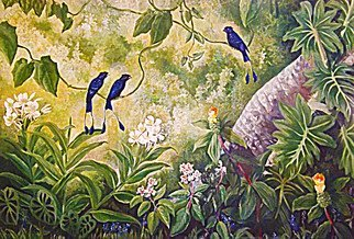 Meenakshi Subramaniam; The Conversation 1 Racket..., 2014, Original Painting Acrylic, 60 x 48 inches. Artwork description: 241         Bird Art India, Wildlife, Nature , Western Ghats, Kerala, endemic  Butterflies of tropical forests in India    ...