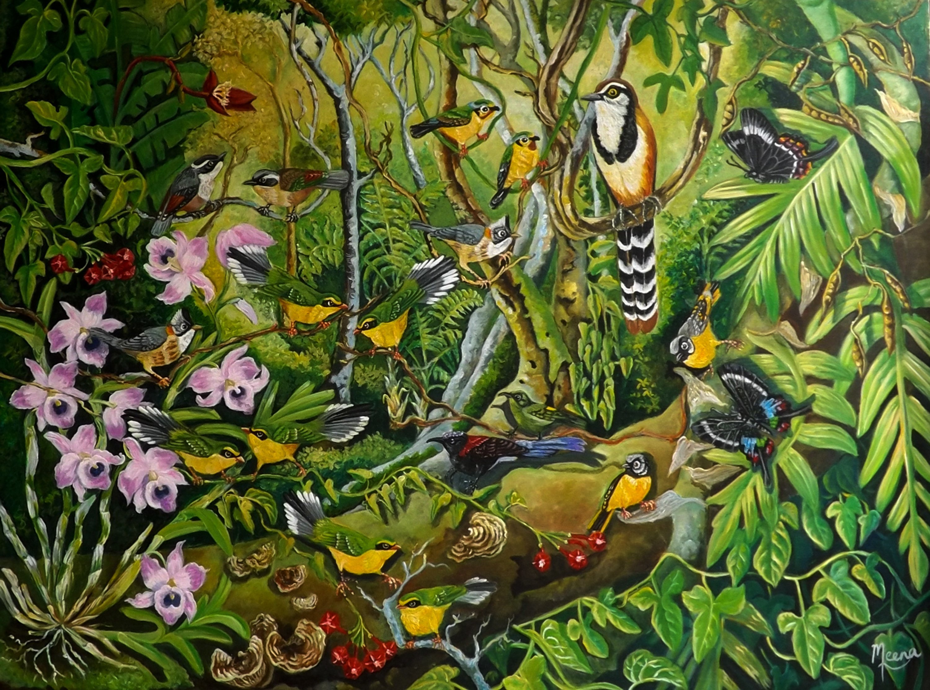 Meenakshi Subramaniam; Paradise, 2017, Original Painting Acrylic, 48 x 36 inches. Artwork description: 241 north east Himalaya , thrush , orchids ...