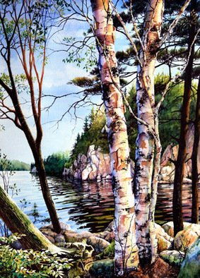 Hanne Lore Koehler; Muskoka Reflections, 2000, Original Watercolor, 32 x 40 inches. Artwork description: 241 Enormous coniferous and deciduous trees cling in every crevice to rocky cliffs that flank Six Mile Lake and hidden among the trees are various cabins, cottages and bunkies. It is a scenic lake contained in an embrace of docks with moored boats of every kind. Inevitably, every ...
