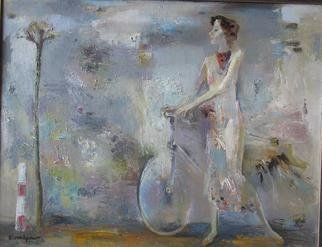 Radish Tordia; Woman With Bicycle, 2001, Original Painting Oil, 70 x 90 cm.