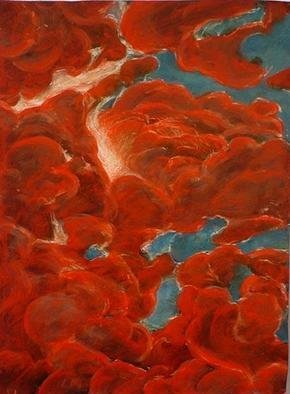 Tom Irizarry Studio; Crimsoned East, 2004, Original Painting Oil, 9 x 12 inches. Artwork description: 241 oil on panel, cinnabar, azurite, cremintz white...