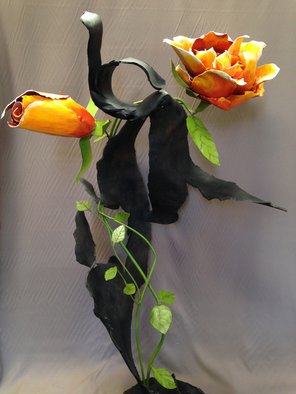 Ivan Kosta; 9 11 Objects Memories Van..., 2014, Original Sculpture Steel, 5 x 6 feet. Artwork description: 241  A colorful rose and rosebud growing through a piece of mangled steel        ...