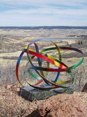 Ivan Kosta; Rebus Infinitus, 2011, Original Sculpture Steel, 6 x 6 feet. Artwork description: 241   A colorful ribbon with no beginning or end undulating in space,   ...
