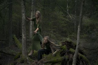 Kristina Junzell; Untitled, 2015, Original Photography Color, 120 x 80 cm. Artwork description: 241  nature, magic, woods, forest, girls, green, dark, mystery, bare foot, hair, play  ...