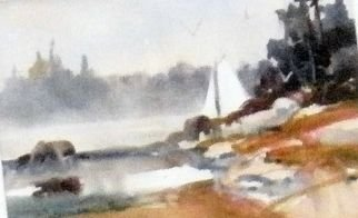 Kristin Morrill; Sailing The Bay, 2011, Original Watercolor, 14 x 11 inches. Artwork description: 241  Wickford RI water with sail boat ...