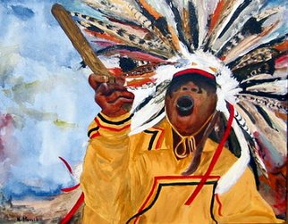 Kristin Morrill; Powwow Dancer, 2008, Original Painting Acrylic, 16 x 16 inches. Artwork description: 241  Wampanoag Powwow Dancer at 2007 Festival in Barnstable MA ...