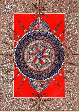 Ilya Kruglov; Oriental 1, 2018, Original Calligraphy, 42 x 29 cm. Artwork description: 241 Fantastic craftsmanship of ancient Persian carpets. Ornament of porcelain pial and plates. Exquisite chasing of copper vessels. Mastery inspires oriental, Pattern, ornament...