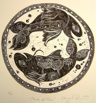 Ksenija Pecaric; The Month Of Adar, 2004, Original Printmaking Linoleum, 12 x 12 inches. Artwork description: 241  Adar is a Hebrew Month and the symbol is a Fish- a good luck sign.  ...