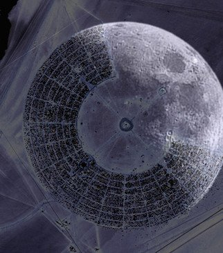 Kate Storm; Burning Man Black Rock Wh..., 2007, Original Photography Other, 8 x 8 inches. Artwork description: 241  Digital collage of Black Rock City in phase with the moon - printed onto a canvas - can be made into different sizes ...