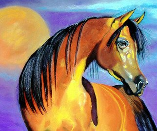 Katherine Taylorgreen; Sunset Bay, 2006, Original Pastel, 22 x 19 inches. Artwork description: 241  Playing with bright sun drenched color was the objective behind this Arabian horse.Painting is on black sanded paper. ...