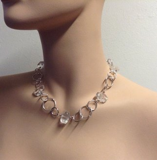 Ice Quartz Crystal Necklace And Fine Silver Handmade Chain