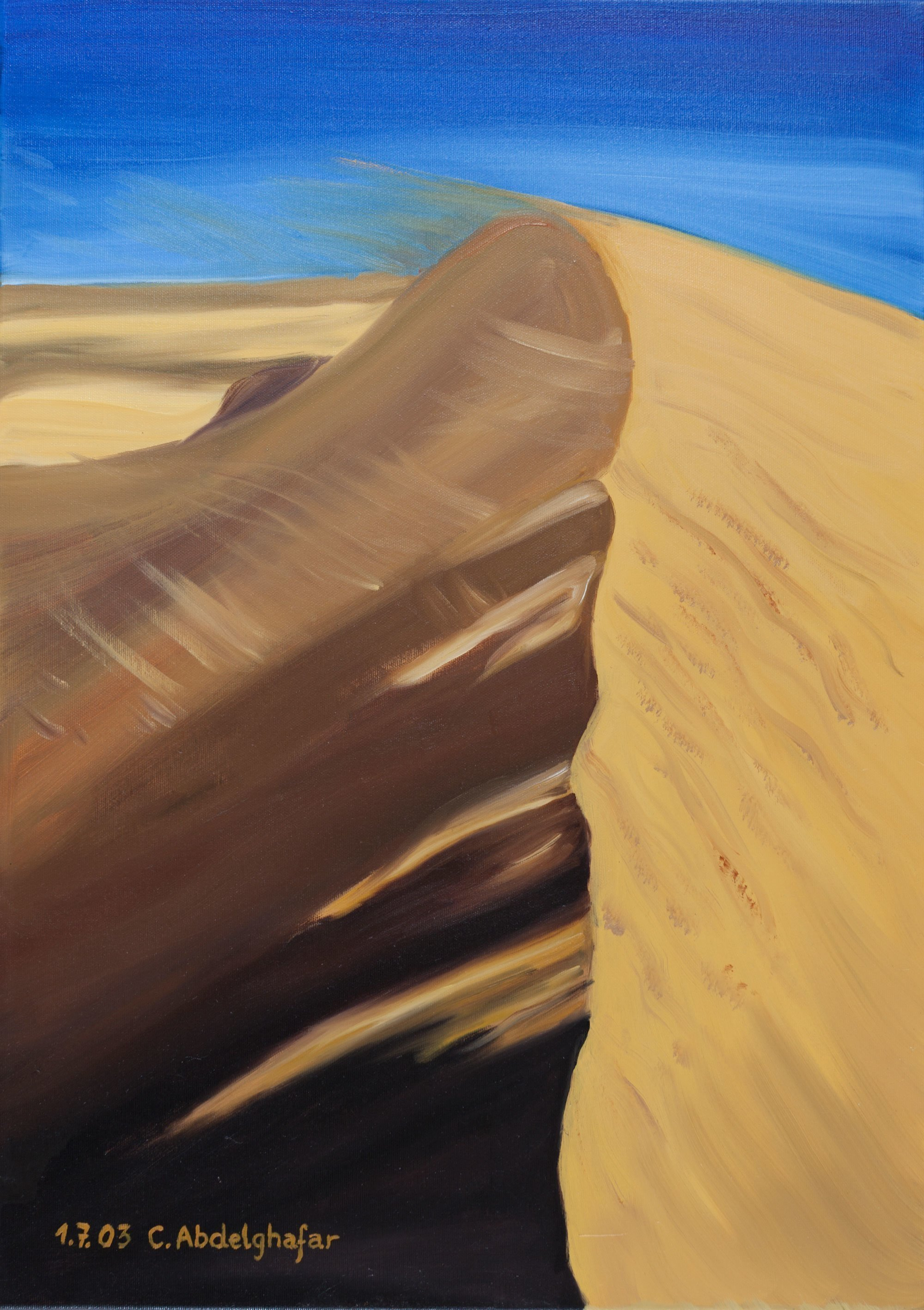 Claudia Luethi Alias Abdelghafar; Dune Of Sand, 2003, Original Painting Oil, 50 x 70 cm. Artwork description: 241 Oilpainting on canvas from a dune of sand playing with the wind, or is the wind playing with the dune Empty but in the same time a richness feeling The size of the painting is without frame 50 x 70 x 2 cm and with frame 53 ...