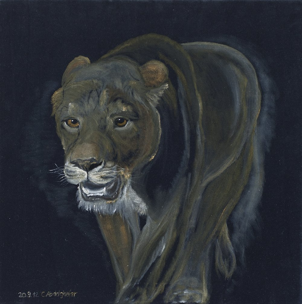 Claudia Luethi Alias Abdelghafar; Lion Female, 2012, Original Painting Oil, 60 x 60 cm. Artwork description: 241 Oilpainting on black velvet from a lion female walking.  Please put this painting in a cage otherwise the lion will come out of it and eat you The size of the painting is without frame 60 x 60 x 2 cm and with frame 63 x 63 ...